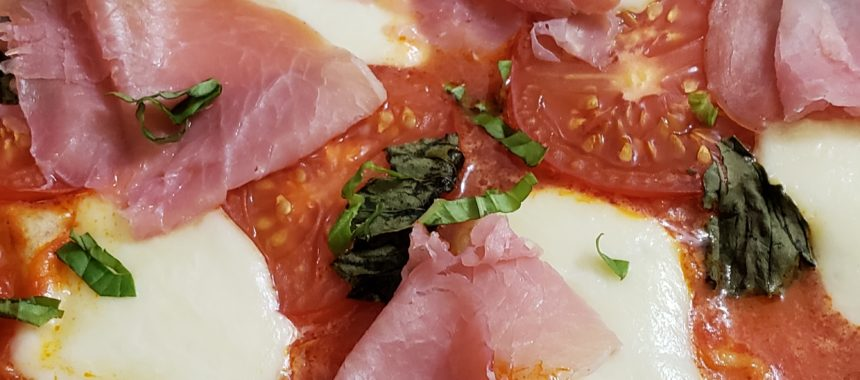 Keto Angry Pizza Margherita with Prosciutto